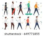 set people walking style in... | Shutterstock .eps vector #649771855