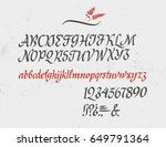 classic italic alphabet with... | Shutterstock .eps vector #649791364