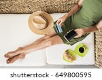 young woman on vacations using... | Shutterstock . vector #649800595