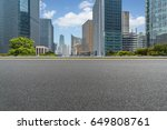 empty asphalt road front of... | Shutterstock . vector #649808761