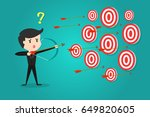 businessman with bow and arrow... | Shutterstock .eps vector #649820605
