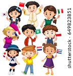 many kids holding flag from... | Shutterstock .eps vector #649823851