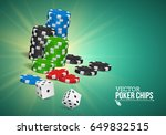 poker chips and dice on a... | Shutterstock .eps vector #649832515