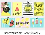 summer june greeting cards and...   Shutterstock .eps vector #649836217