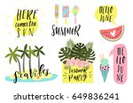 summer lettering set with cute... | Shutterstock .eps vector #649836241