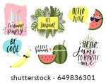summer lettering set with cute... | Shutterstock .eps vector #649836301
