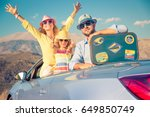 happy family travel by car.... | Shutterstock . vector #649850749