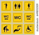 wc   toilet door plate icons... | Shutterstock . vector #649853509