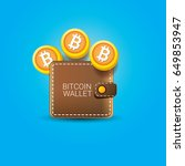 vector brown bitcoin wallet... | Shutterstock .eps vector #649853947