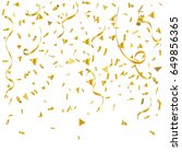 gold confetti and ribbon... | Shutterstock .eps vector #649856365
