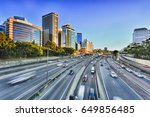 wide view of multi lane... | Shutterstock . vector #649856485