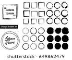 set of black grunge circle... | Shutterstock .eps vector #649862479