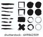 set of black paint  ink brush...   Shutterstock .eps vector #649862509