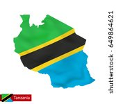 tanzania map with waving flag... | Shutterstock .eps vector #649864621