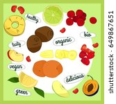 illustration with fruits and... | Shutterstock .eps vector #649867651