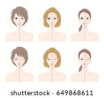 women  before makeup and after... | Shutterstock .eps vector #649868611