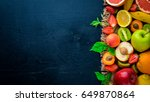 set of fresh fruits. healthy... | Shutterstock . vector #649870864