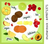 illustration with fruits and... | Shutterstock . vector #649871371
