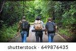 life is journey  three man... | Shutterstock . vector #649876435