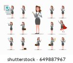 set of business woman character ... | Shutterstock .eps vector #649887967