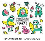 set of cute and fun summer... | Shutterstock .eps vector #649890721
