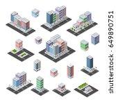 city set of isometric of urban... | Shutterstock .eps vector #649890751