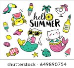 set of cute and fun summer... | Shutterstock .eps vector #649890754