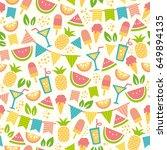 seamless pattern for summer... | Shutterstock .eps vector #649894135