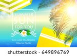sea vacation. summer background.... | Shutterstock .eps vector #649896769