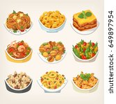set of many kinds of tasty... | Shutterstock .eps vector #649897954