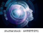 human robot with digital... | Shutterstock . vector #649899391