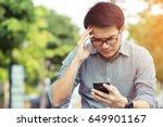 bad news. worried young... | Shutterstock . vector #649901167