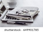 newspaper with computer on table | Shutterstock . vector #649901785
