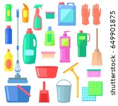 cleaning. different icons of... | Shutterstock . vector #649901875