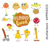 set of funny and cute cartoon...   Shutterstock .eps vector #649903315