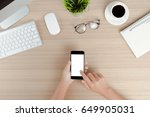 hand use phone mobile white... | Shutterstock . vector #649905031