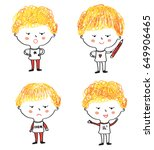 kids cartoons set with... | Shutterstock .eps vector #649906465