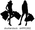 Silhouettes of girls with bags