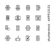 mobile security vector icon set ... | Shutterstock .eps vector #649913131