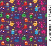 seamless pattern with a cute... | Shutterstock .eps vector #649913824