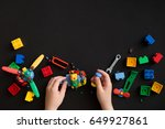 closeup of child's hands with... | Shutterstock . vector #649927861