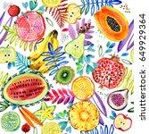 seamless watercolor pattern of... | Shutterstock . vector #649929364