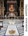 Small photo of Rome, Italy - famous Basilica di San Lorenzo in Lucina. Baroque interior, side chapel.