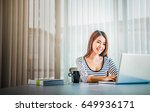 young woman use of the laptop... | Shutterstock . vector #649936171