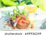 smoke salmon with bread and... | Shutterstock . vector #649936249