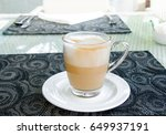 close up shot of latte coffee... | Shutterstock . vector #649937191