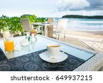 shot of latte coffee cup on... | Shutterstock . vector #649937215