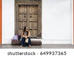 travel guide. young female... | Shutterstock . vector #649937365