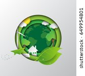 let's go to the green earth... | Shutterstock .eps vector #649954801