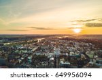 sunset over kaunas city center  ... | Shutterstock . vector #649956094